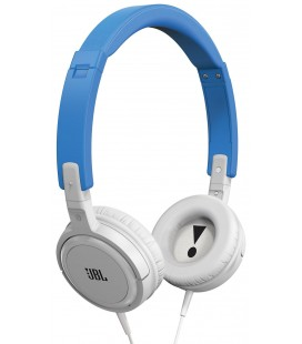 Casti on ear mini cu microfon JBL T300 Blue-White