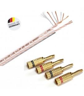 Cablu de boxe Eagle Cable Silverline 2.5 echipat cu Conectori Norstone Banana Plug  - lungime 2*2m