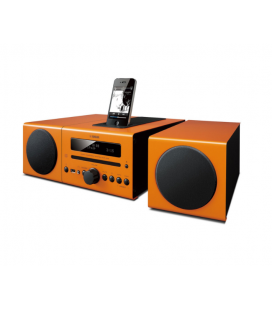 Micro sistem stereo Yamaha MCR-042 Orange, CD, iPod/iPhone, iPad (via USB), USB, radio FM, Aux-in