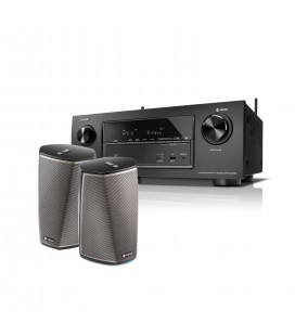 Receiver AV 7.2 Denon AVR-X2400H set Boxe wireless Denon HEOS 1 HS2 Duo Pack