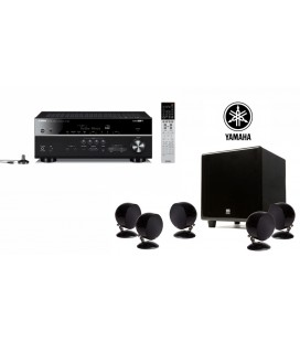 Receiver multicanal AV Yamaha MusicCast RX-V683 Black si Set boxe 5.1 surround Morel BEAT-X Piano Black