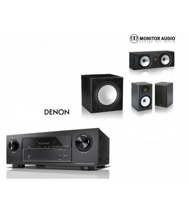 Receiver A/V 7.2 DENON AVR-X1400H cu Set Boxe 3.1 Monitor Audio MR1, MR Center, MR-W10