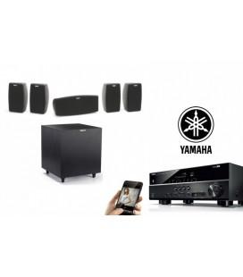 Bluetooth® Receiver AV 5.1 Yamaha RX-V383 cu Set de Boxe 5.1 Klipsch Quintet si R-8SW
