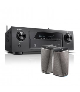 Receiver AV 7.2 Denon AVR-X1400H set Boxe wireless Denon HEOS 1 HS2 Duo Pack