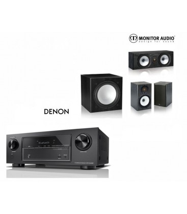 Receiver A/V 7.2 DENON AVR-X1400H cu Set Boxe 3.1 Monitor Audio MR1, MR Center, MR-W10