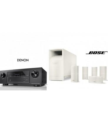 Receiver AV 7.2 Denon AVR-X1400H Black cu Set Boxe 5.1 Bose Acoustimass 10 series V White