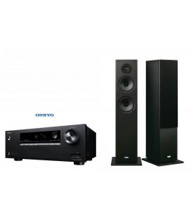 Receiver AV 5.1 Onkyo TX-SR252 Black cu set Boxe stereo Onkyo SKF-4800