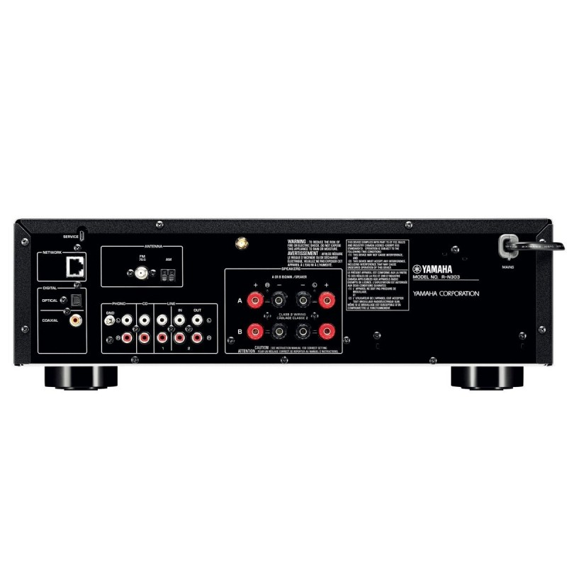receiver stereo yamaha r n303 black airplay dlna. Black Bedroom Furniture Sets. Home Design Ideas