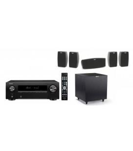 Bluetooth® Receiver AV 5.2 Denon AVR-X250BT cu Set Boxe 5.1 Klipsch Quintet si Subwoofer activ R-8SW
