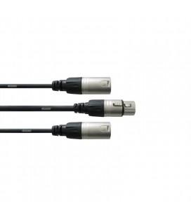 Cablu adaptor Y Cordial CFY 0.3 FMM, XLR mama - 2 x XLR tata, 0.3M